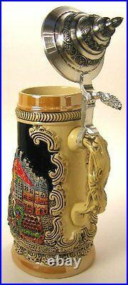 Collectable LTD German Lidded Beer Stein. Hand-painted Munchen Scene