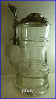 Cut Glass Tankard Pewter LID Enamel Edelweiss Badge Beer Stein German / Swiss