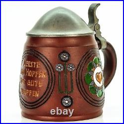 Dumler & Breiden Antique Lidded Mug German Etched Beer Stein Art Nouveau 1900s