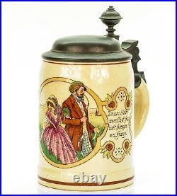 Eckhardt & Engler Antique Lidded Mug German Beer Stein Couple ca. 1920's