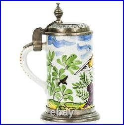 Faience Antique German Lidded Beer Stein ca. 1820 Hunter