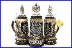 GERMAN BEER STEIN, 0,5 l pewter relief german eagle with lid NEW LIMITED EDITION