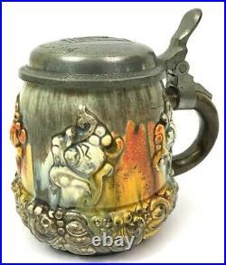 German Beer Stein 1/2 Liter Art Deco Art Nouveau Pewter lid with crest NICE