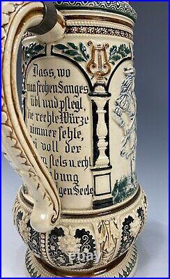 German Beer Stein Pewter Lid Lady WithGuitar & Violin Scene Satyr Lion Heads