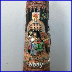 German Beer Stein With Attached LID 25 Tall Germany