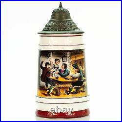 German Lidded Beer Stein Antique Porcelain Germany Mug 1900s Tavern Scene