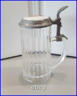 German Lidded Beer Stein Cut Glass Victorian Woman Porcelain LID