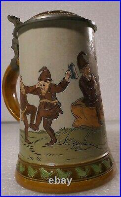 German Lidded Beer Stein Tankard Hauber & Reuther Dwarfs Playing Instruments