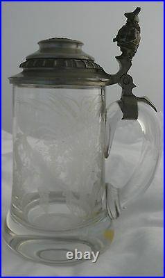 German Lidded Stein Leaded Cut Etched Glass Beer Barrel Man Funnel Top 1900's