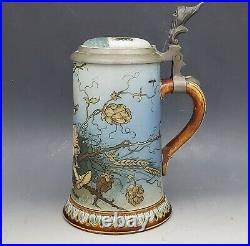German Mettlach 1/2L #2133 Dwarf Lidded Beer Stein