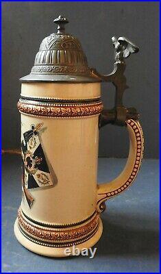 German Pottery Regimental Beer Stein Pewter LID Military C. 1900-10