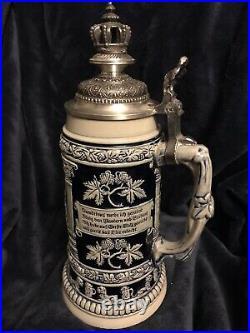 German Stoneware Beer Krug Stein Gambrinus King of Beers Crown Lid 0.75L 11.75