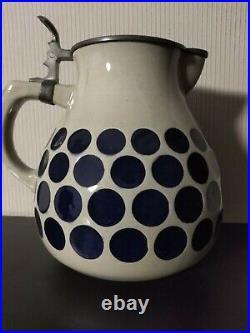 German beer stein Marzi & Remy TWO liter lidded jug blue dots