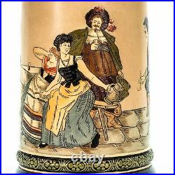 HR Hauber & Reuther 401 Antique German Etched Lidded Beer Stein Flirting Scene