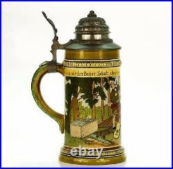 HR Hauber & Reuther 444 Antique German Etched Lidded Beer Stein Beer Garden