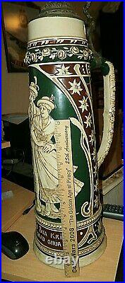 Huge Pre-world War Ii, Vintage German Ceramic Beer Stein /w LID 21 In