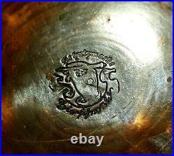 Huge antique German copper lidded stein, 19th Century engraved & dated beer ewer