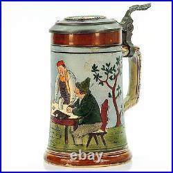J. W. Remy 737 Antique Etched Lidded Mug German Beer Stein Tavern Scene 1900s