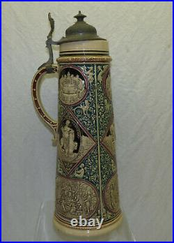 Large Antique 17 Tall King Solomon 3L German Beer Stein with Pewter Lid Salomon