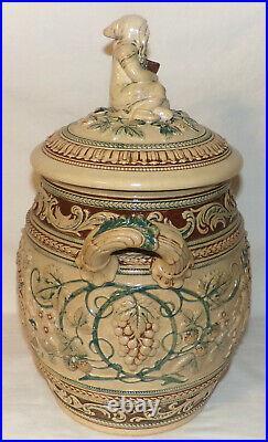 Large Antique German Beer Wine Tureen w Figural Lid Cherubs Grapes in Relief