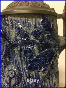 Large German Cobalt Salt-Glazes Beer Stein PitcherPewter Lid Monkeys ST12