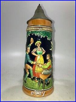 Large Vintage Gerz Ceramic German Beer Stein with Vintage Pewter Lid