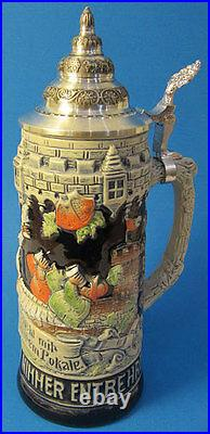 Limited Edition Collectable German Lidded Beer Stein. Hand-painted Drink Happy