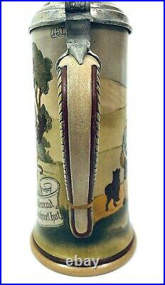 Marzi & Remy Antique German Beer Stein Mill Scene. 5L Inlay lid Gift