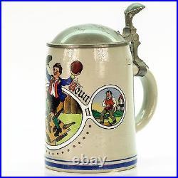 Marzi & Remy Antique Lidded Mug German Beer Stein Pin Boy Bowling ca. 1940's