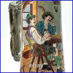 Matthias Girmscheid X30 Antique Etched German Inlaid Lid Lidded Beer Stein Mug