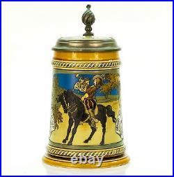 Mettlach #2008 Antique Etched German Mug Inlaid Lidded Beer Stein Margaretha