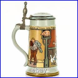 Mettlach #2959 Antique German Etched Beer Stein Lidded Mug Bowling ca. 1897