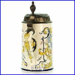 Mettlach 5013 Antique Faience German Lidded Beer Stein In Arte Libertas ca1900