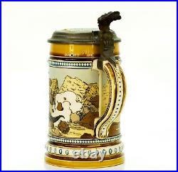 Mettlach Antique Etched German Inlaid Lidded Mug Beer Stein Musician Nile 1132