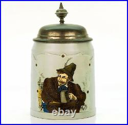 Mettlach Antique Etched German Lidded Mug Beer Stein Mountain Dweller #1533