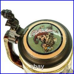 Mettlach Antique Etched German Lidded Mug Beer Stein Speech by a Fool #2582