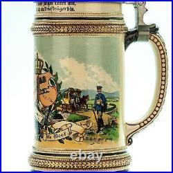 Occupational Beer Stein Postman ca. 1900 Antique German Lidded Regimental