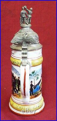 Old Antique GERMAN MILITARY REGIMENTAL BEER STEIN Lithophane Bottom CANNON Lid