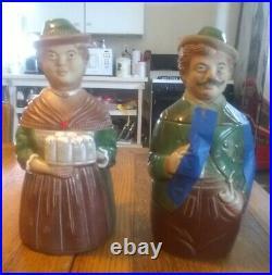 Pair of Vintage German Character Lidded Beer Steins