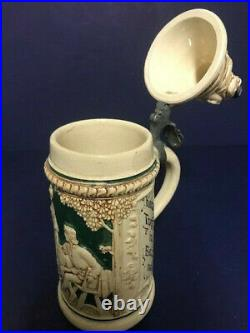 Rare Collectible German Beer Stein Gnomes on Lid Matthias Girmsheid Ceramic #5