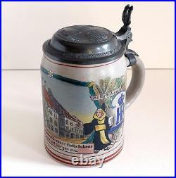 Rare German Saltglaze Beer Stein Munich -hb (marzi-remy) With Pewter LID