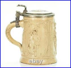 Regensburg Antique German Beer Stein Lidded Mug Inlaid Lid Westerwald ca. 1880