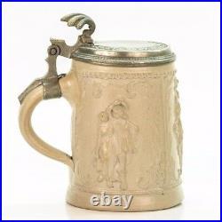 Regensburg Antique German Lidded Mug Beer Stein Westerwald ca. 1880