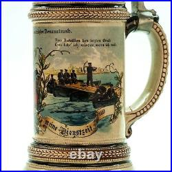 Regimental Beer Stein Pioneer Battalion 1900 Antique German Lidded Military