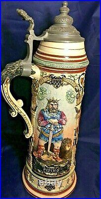 Reinhold Hanke German 3 Liter Charlemagne Beer Stein withPewter Lid