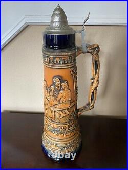 Tall 4L Vintage German Beer Stein with Lid
