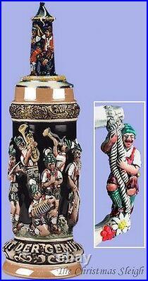 Traditional Bavarian German Oktoberfest Band Lidded Beer Stein Mug Krug 1 Liter