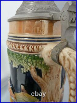 VINTAGE GERMAN MUSICAL BEER STEIN with Pewter Lid. Signed Approx. 13 TALL