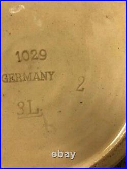Very Large 3 Liter Vintage German Beer Stein/Pewter LidZither Player #1029ST44