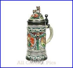 Vintage 1983 GERZ Limited Edition Signed German WolfPewter Lidded Beer Stein Mug
